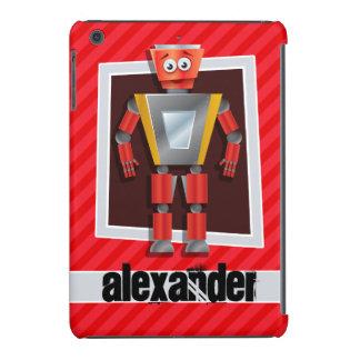 Robot; Scarlet Red Stripes iPad Mini Retina Cover