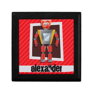 Robot; Scarlet Red Stripes Keepsake Box