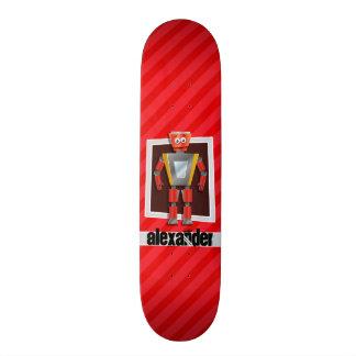Robot; Scarlet Red Stripes Skateboard
