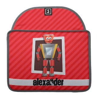 Robot; Scarlet Red Stripes Sleeves For MacBooks