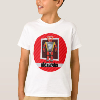 Robot; Scarlet Red Stripes T-Shirt