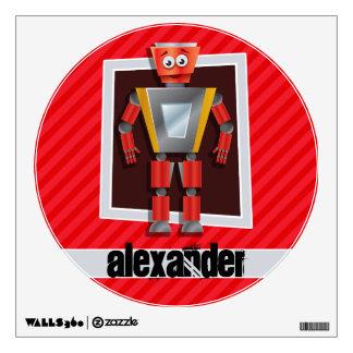 Robot; Scarlet Red Stripes Room Sticker