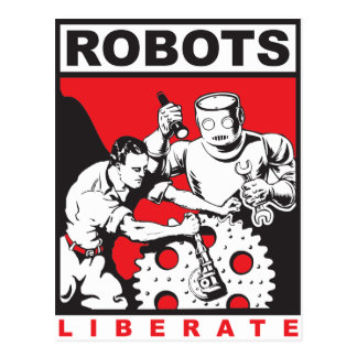 Robot sets you free postcard