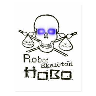 Robot Skeleton Hobo Postcard