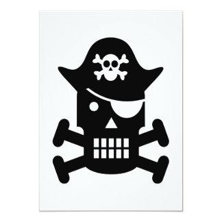 Robot Skull & Crossbones Pirate Silhouette 5x7 Paper Invitation Card