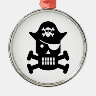 Robot Skull & Crossbones Pirate Silhouette Christmas Ornaments