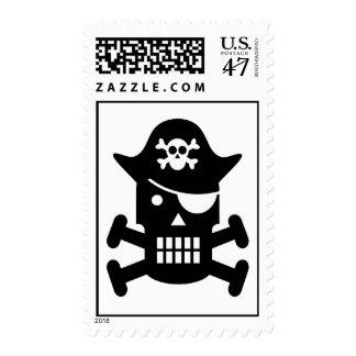 Robot Skull & Crossbones Pirate Silhouette Postage Stamp