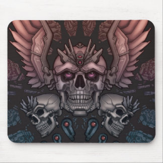 Robot Skull + Wings Mouse Pad