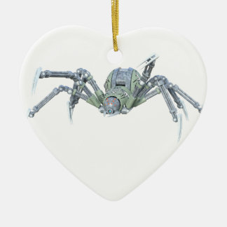 Robot Spider in Green and Silver Ceramic Ornament