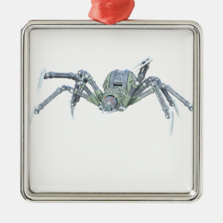 Robot Spider in Green and Silver Metal Ornament
