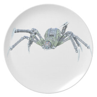 Robot Spider in Green and Silver Plate