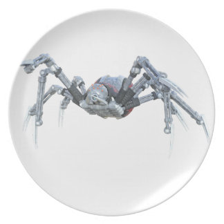 Robot Spider In Grey, Red and Silver Melamine Plate