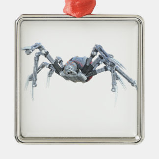 Robot Spider In Grey, Red and Silver Metal Ornament