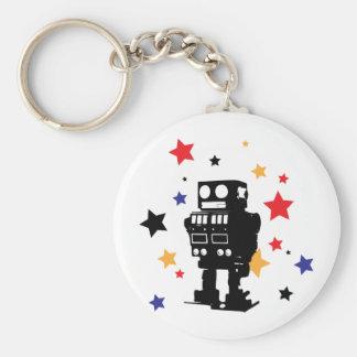 Robot Star Basic Round Button Keychain