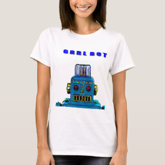 Robot T Shirt of a GRRRL Bot in BRAZEN Blue