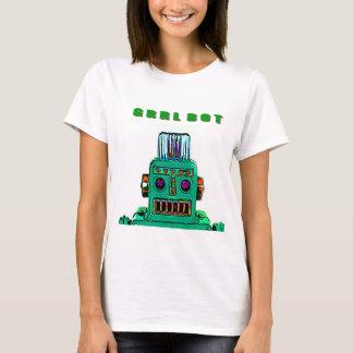Robot T Shirt of a GRRRL Bot in Grandiose Green
