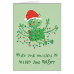 Robot Tangled up in Christmas Lights Cards
