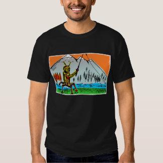 Robot Tenkara Fishing in Autumn - Front T-Shirt