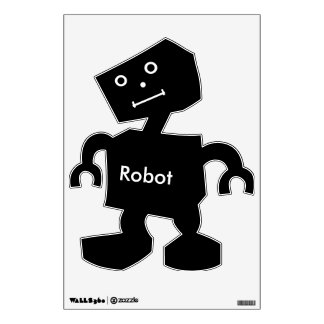 Robot  Text in White On Black Robot with Face Wall Decal