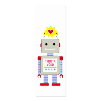 Robot Thank Gift Tags Double-Sided Mini Business Cards (Pack Of 20)
