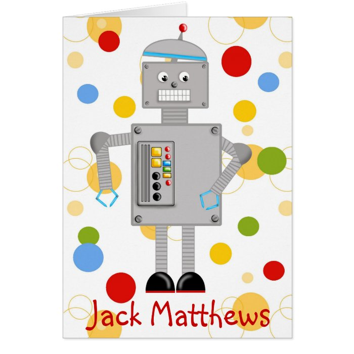 Robot Thank you Note card