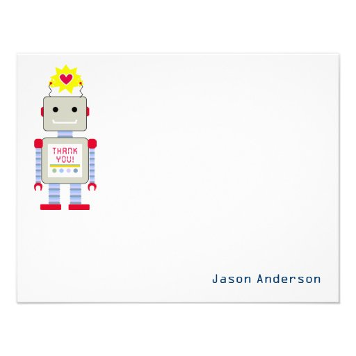 Robot Thank You Note Cards Personal Stationery Invitations