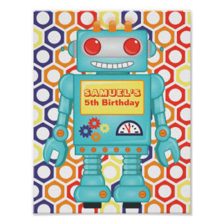Robot Themed Party Poster