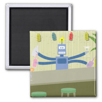 Robot Tiki Bar Bartender 2 Inch Square Magnet