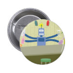 Robot Tiki Bar Bartender Pinback Button