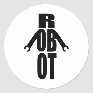 Robot tipográfico pegatina redonda