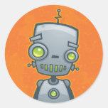 Robot tonto etiqueta redonda