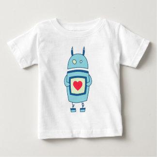 Robot torpe lindo azul con el bebé del corazón polera