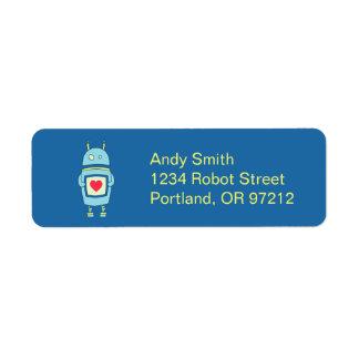 Robot torpe lindo azul con el corazón etiqueta de remite