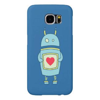 Robot torpe lindo azul con el corazón fundas samsung galaxy s6