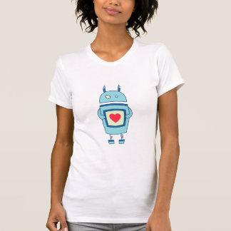 Robot torpe lindo azul con el corazón para mujer playera