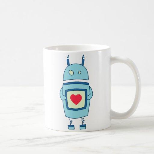 Robot torpe lindo azul con el corazón tazas de café