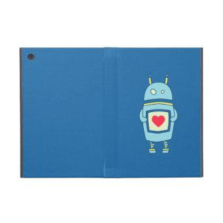 Robot torpe lindo azul con el folio del corazón iPad mini protector