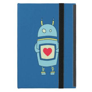 Robot torpe lindo azul con el folio del corazón iPad mini coberturas