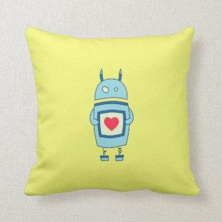 Robot torpe lindo brillante con el corazón cojín