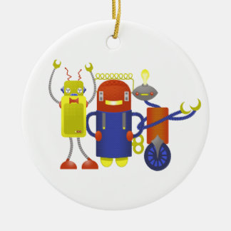 Robot Trio Ceramic Ornament