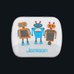 """Robot Trio Jelly Belly Candy Tin<br><div class=""""desc"""">Attention robotic fanatics! This fun print features a trio of colorful robotic friends! Customized with your explorer's name to make it uniquely yours! Also keep a look out in the Kids &amp; Baby section to find more fun designs featuring these robot friends!</div>"""