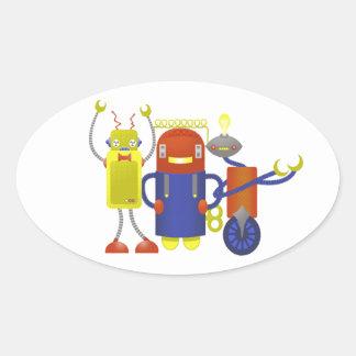 Robot Trio Oval Sticker
