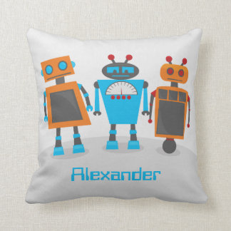 Robot Trio Throw Pillow