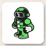 Robot verde posavasos