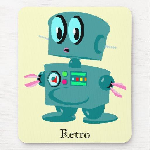 Robot verde retro clásico alfombrilla de ratones