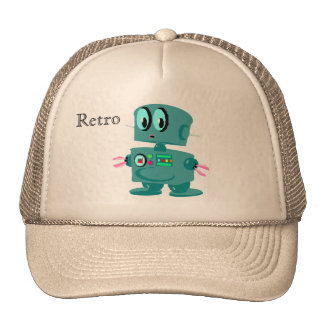 Robot verde retro clásico gorros
