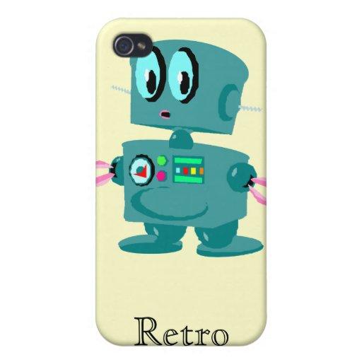 Robot verde retro clásico iPhone 4/4S fundas