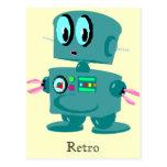 Robot verde retro clásico postal
