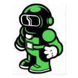 Robot verde tarjeta postal