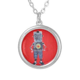 Robot vintage retro 1950s pop art style silver plated necklace